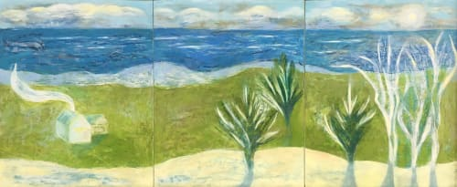 Paintings by willa vennema seen at Private Residence, Portland - White House with Green Fields