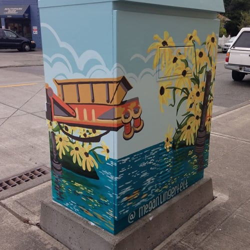 Murals by Megan Lingerfelt seen at 14th Ave S & S Cloverdale St, Seattle - Blackeyed Port