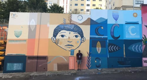"""Street Murals by Pol Corona seen at Loures, Loures - """"Migrate"""" Mural"""