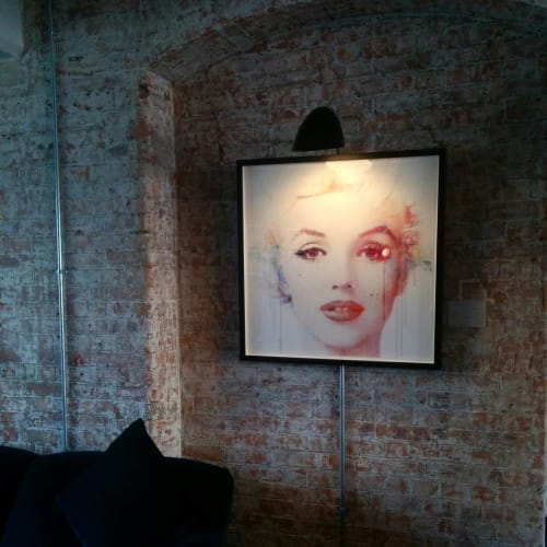 "Paintings by VeeBee seen at The Ambrose Café, London - ""Marilyn Monroe in Watercolour"""