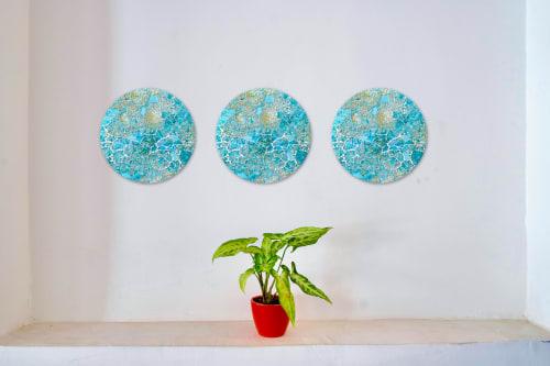 Wall Hangings by Chieko Shimizu Fujioka seen at Creator's Studio, Santa Clara - Ocean Blue Circular (Made-to-order)