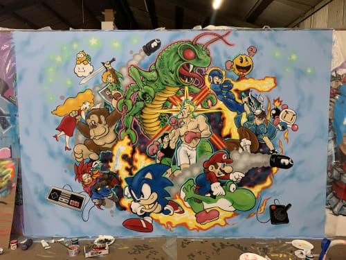 Murals by Lopan 4000 seen at The Museum of Art and Digital Entertainment, Oakland - The MADE