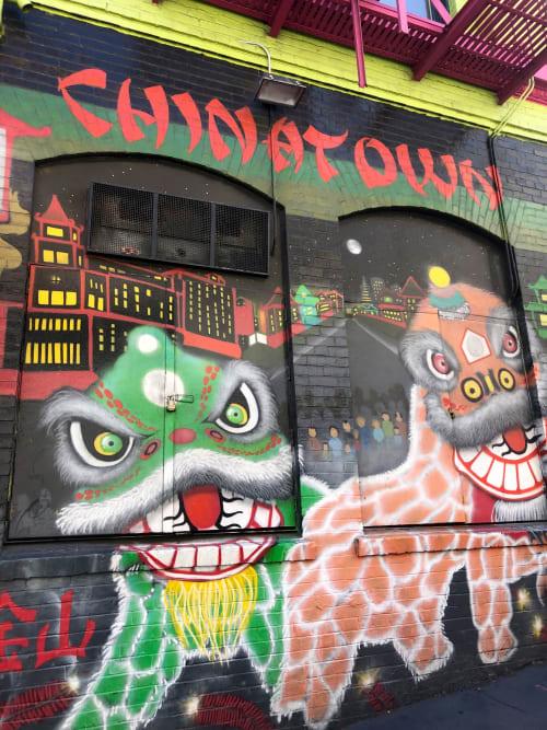 Street Murals by Francisco Aquino at China Bazaar, San Francisco - Dragons Mural