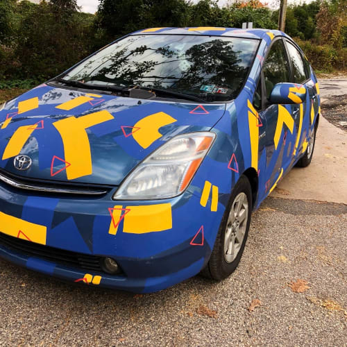 Public Art by Ethan Lipsitz Lives seen at Private Residence, Philadelphia - Toyota Prius