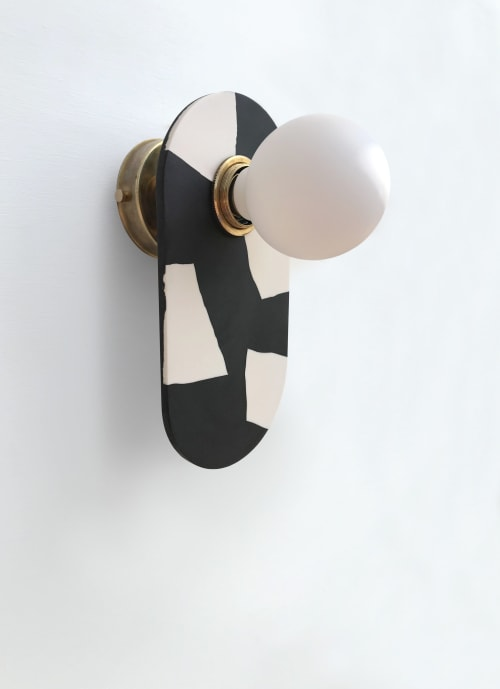 Sconces by What The Mood seen at Private Residence, Bristol - Tutti Frutti - Dragonfruit | Black & White Brass Wall Light