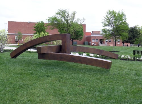 Public Sculptures by John E. Bannon seen at Rowan University, Glassboro - The Test of Time