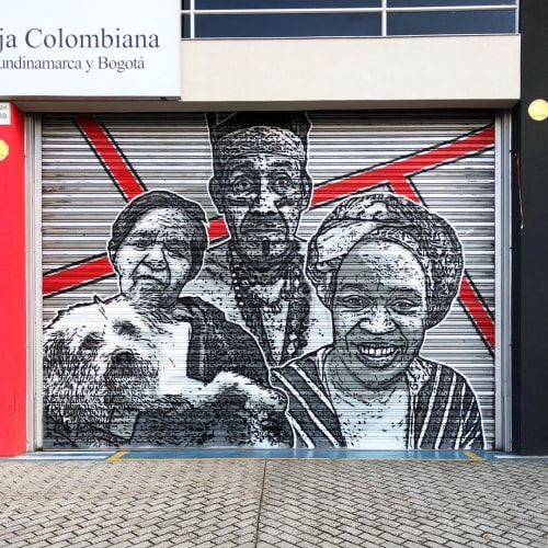 Street Murals by DjLu / Juegasiempre seen at CRUZ ROJA COLOMBIANA, Bogotá - Humanity