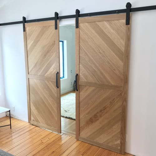 Furniture by Angel City Woodshop at Private Residence, Beverly Hills, CA, Beverly Hills - White Oak Barn Doors