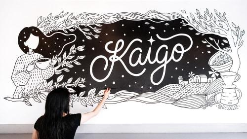 Murals by Loe Lee seen at Kaigo Coffee Room, Brooklyn - Kaigo