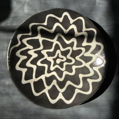 Ceramic Plates by Ali Hewson seen at Creator's Studio, London - Slipware Spiral Platter