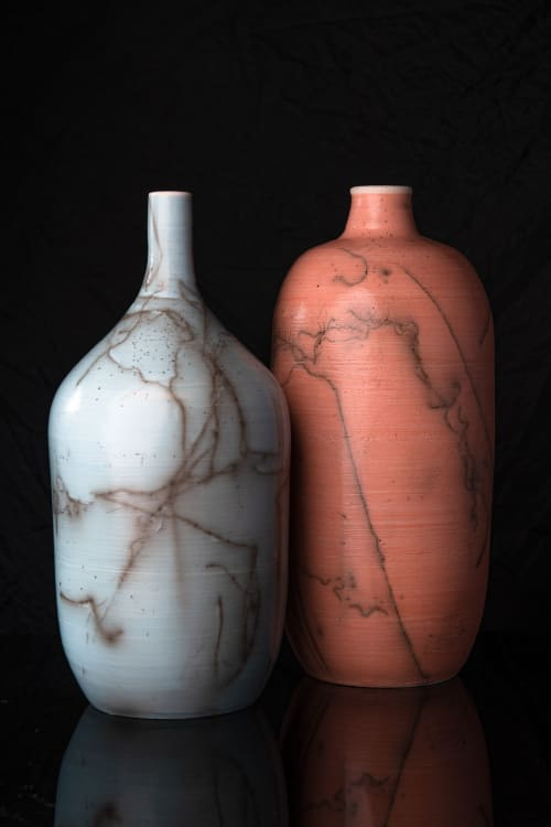 Sculptures by Jeffrey Siegel Ceramics seen at San Diego, San Diego - Horse Hair Bottles