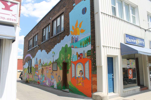 Street Murals by Pamela Rojas seen at Kitchener Market, Kitchener - Stories of the new beginnings - Welcome Home Housing