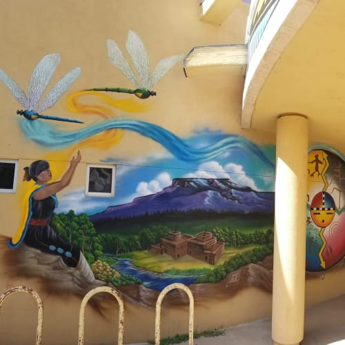 Murals by Natachu INK seen at A:shiwi College and Career Center, Zuni - Wall Mural
