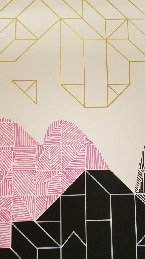 Murals by Ellen Picken seen at Facebook, Bellevue - Sun Goddess creates Birds from the sun, from the hills