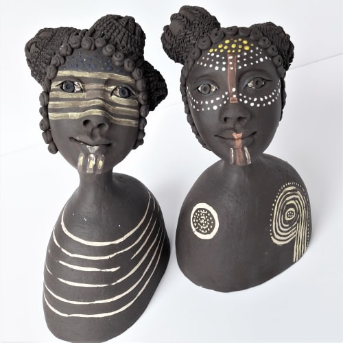 Macrame Wall Hanging by Jenny Chan seen at Spike Island, Bristol - Black Divas - Ceramic Figurative Sculpture