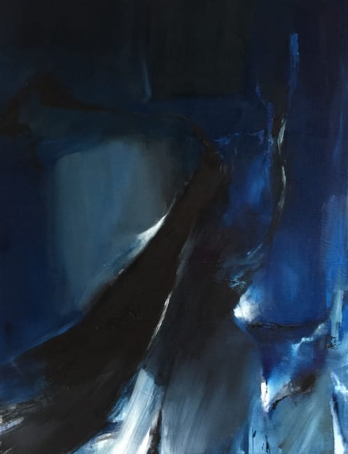 """Abstract painting """"Blue Slip""""   Paintings by Emilia Dubicki   Five Points Center for the Visual Arts in Torrington"""