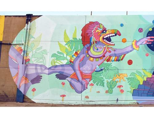 Street Murals by Seba Bastardo seen at Central Abastos Iztapalapa, Ciudad de México - Teteo Ualkistli: Guardians of Tomorrow