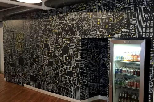 Murals by Greg Kletsel seen at Smoke & Mirrors, New York - Smoke & Mirrors NYC Office Mural