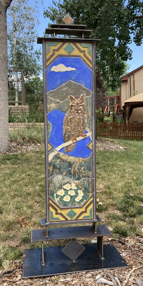 Sculptures by Gregory Fields seen at Private Residence, Bend - Great Horned Owl
