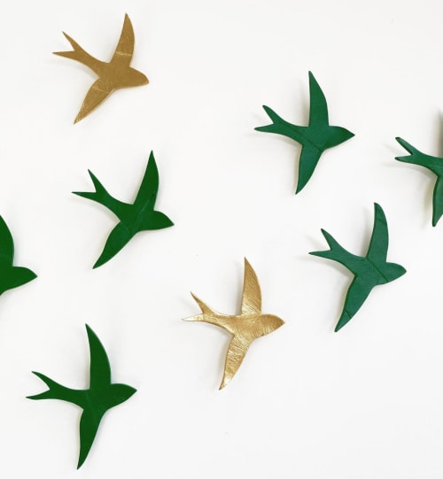 Art & Wall Decor by Elizabeth Prince Ceramics seen at Creator's Studio, Manchester - Set Of 10 Ceramic Birds Green and Gold