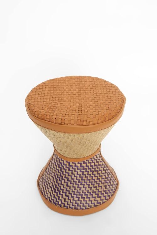Art Curation by Lani Adeoye  ( Studio Lani) seen at Creator's Studio, Lagos - Talking stool    Nude top and blue bottom  $950