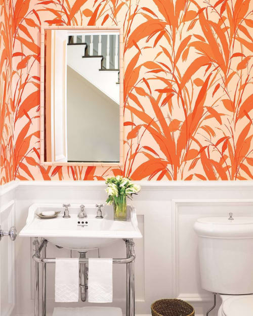 Wallpaper by Meg Braff Designs seen at Private Residence, Southampton - Meadow Reed