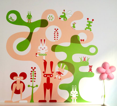 Murals by Otto Steininger seen at Private Residence, New York - Tipitula mural for kid's room