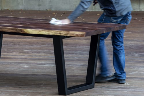 Tables by Hazel Oak Farms seen at Private Residence, San Diego - Live-Edge Walnut Industrial Table