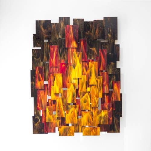 """Inferno"" Glass and Metal Wall Art Sculpture | Sculptures by Karo Studios"