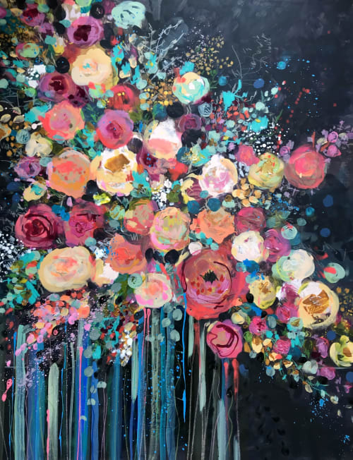 Paintings by Tipperleyhill seen at Private Residence, Chicago - Abstract floral, mixed media on canvas