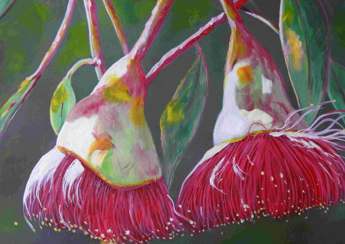 Paintings by Julie Hollis Contemporary Art seen at Private Residence, Gold Coast - Scrumptious Red Gumnut Blossom