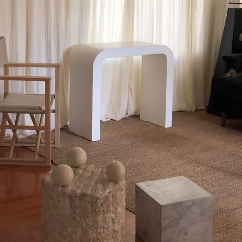 """Tables by Oken House Studios seen at Private Residence, Pasadena - """"Marit Smooth Plaster Mid-Century Waterfall Console"""""""