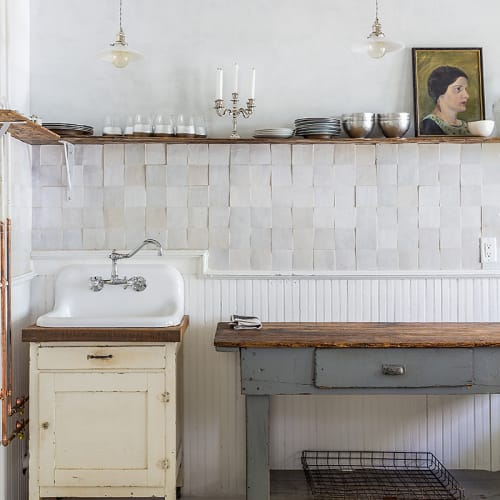 "Tiles by clé tile seen at This Old Hudson, Hudson - Weathered White - Zellige 4""x4"""