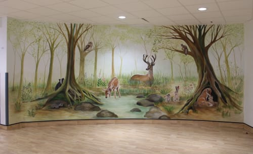 Murals by Michelle Meola seen at North Middlesex University Hospital, London - Maternity Ward Woodland Mural