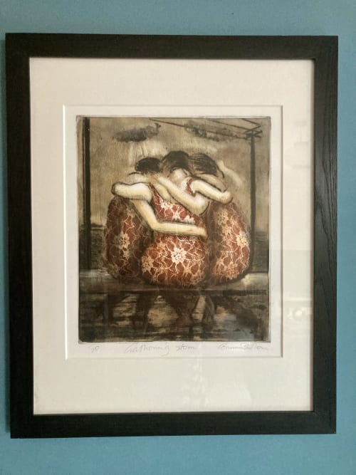 'Gathering Storm' Hand painted drypoint etching | Paintings by Corinna Button