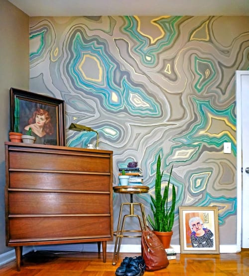 Murals by Liz Maycox seen at Private Residence, Brooklyn - Geode Accent Wall Mural