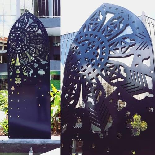 Public Sculptures by Elysha Rei seen at Ann Street, Brisbane City - Rose Window Water Feature
