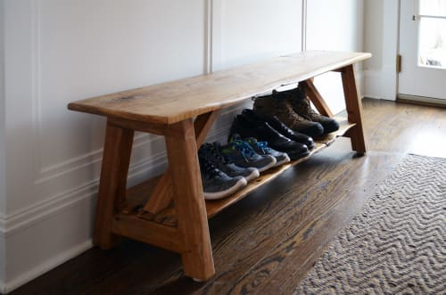 Benches & Ottomans by Abodeacious seen at Private Residence, Evanston - rustic oak bench