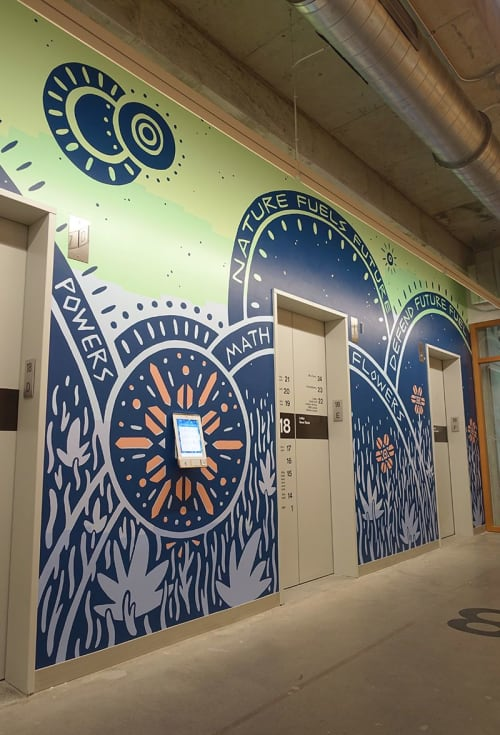 Murals by Will Hatch Crosby seen at Facebook, Austin - Magic Powers Math Flowers Mural