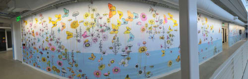 Murals by Sage Vaughn seen at Facebook, Playa Vista, Los Angeles - Flowers and Butterflies