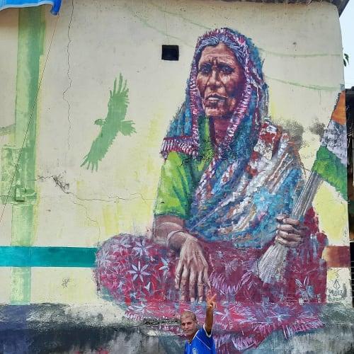 Street Murals by Alaniz seen at Bandra West, Mumbai - Mother India