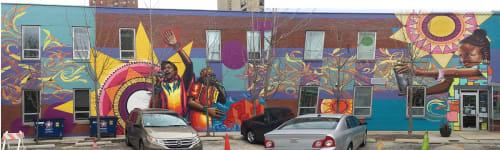 Street Murals by Rahmaan Statik Barnes seen at Hyde Park, Chicago - Children of the wall