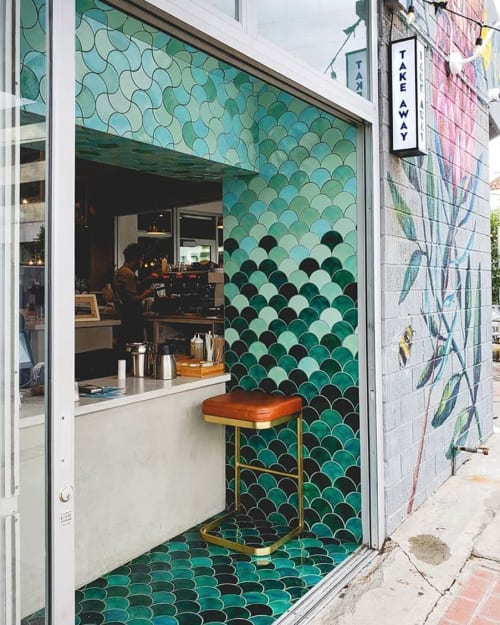 Tiles by Mercury Mosaics seen at Bluestone Lane, New York - Large Moroccan Fish Scales