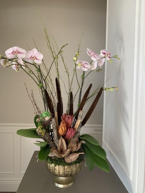 Floral Arrangements by Fleurina Designs seen at Private Residence, San Jose - Earth tones orchid arrangement