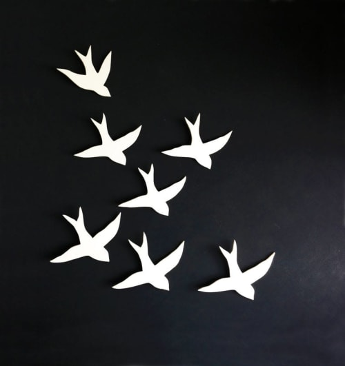 Art & Wall Decor by Elizabeth Prince Ceramics seen at Creator's Studio, Manchester - Flock - Swallows Porcelain Bird Wall Sculpture Set Of 7