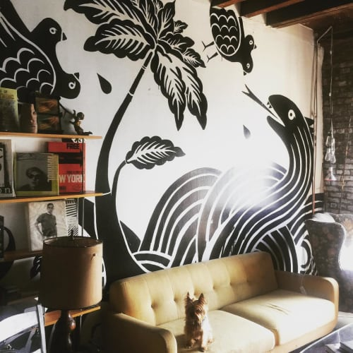 Murals by Poneros seen at Optic Nerve USA Inc, Brooklyn - Serpent Mural