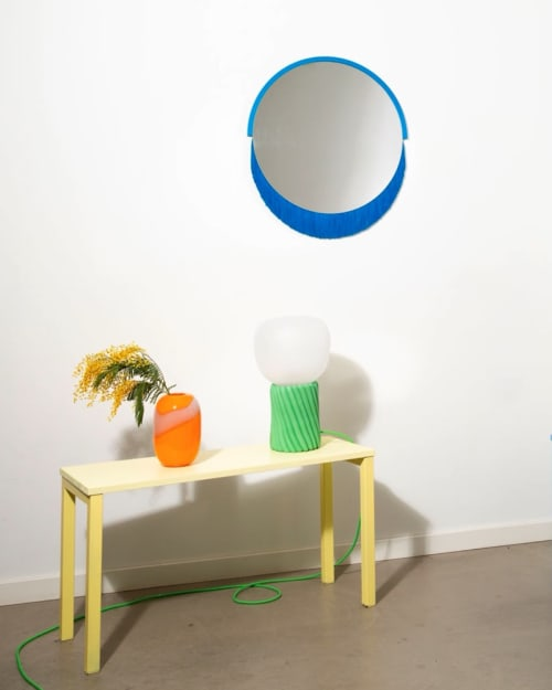 Wall Hangings by Tero Kuitunen seen at Private Residence, Helsinki - Round Fringe mirror in Blue
