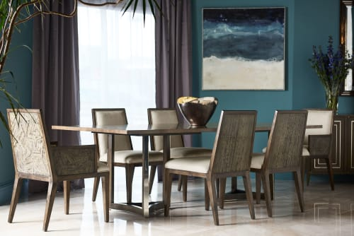 Tables by Jonathan Charles Fine Furniture seen at Private Residence - Gatsby Contemporary Rectangular Grey Natural Eucalyptus & Stainless Steel Dining Table with Random Cut Top
