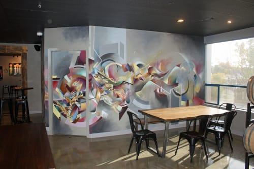 Murals by Douglas Keliiheleua Kleinsmith seen at Moonraker Brewing Co., Auburn - Barrel Tasting Room Mural