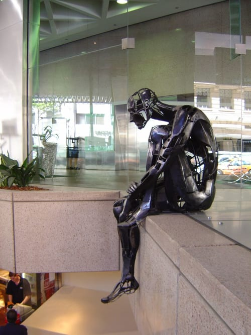 Public Sculptures by Cezary Stulgis seen at Post Office Square, Brisbane City - The Overseer